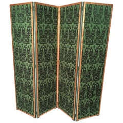 Hand Block Printed Black and Green Fabric Four Panel Screen