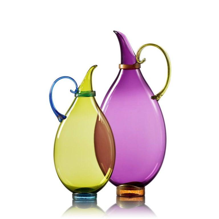 American Purple Hand Blown Glass Vessel, Jewel Tone Pitcher, Size Small, by Vetro Vero For Sale