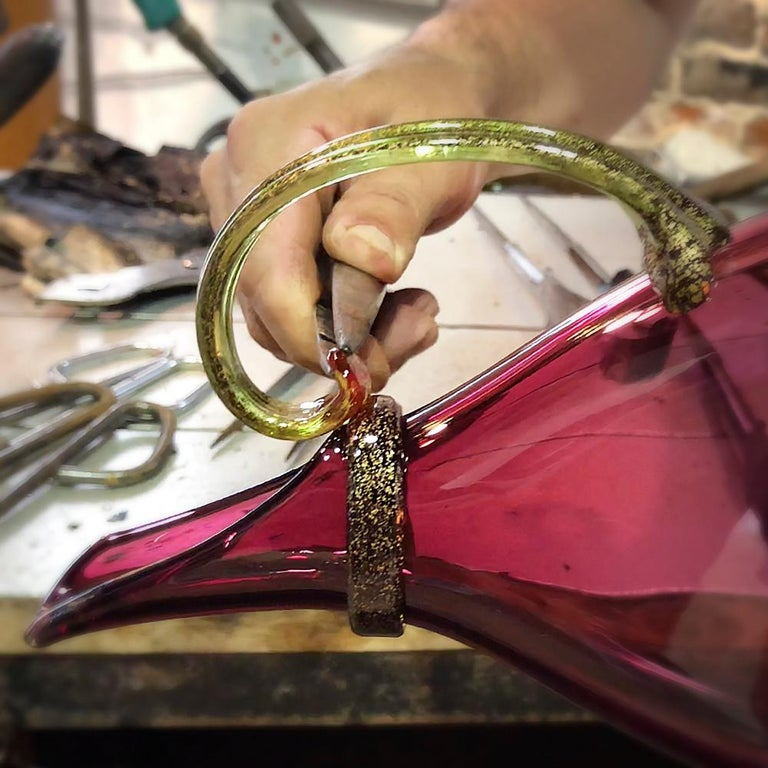 Contemporary Purple Hand Blown Glass Vessel, Jewel Tone Pitcher, Size Small, by Vetro Vero For Sale