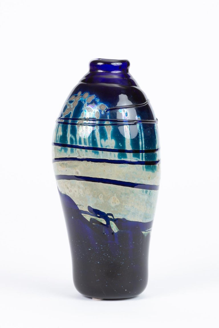 American Hand Blown Art Glass Vase/Vessel with Striated Drip Finish For Sale