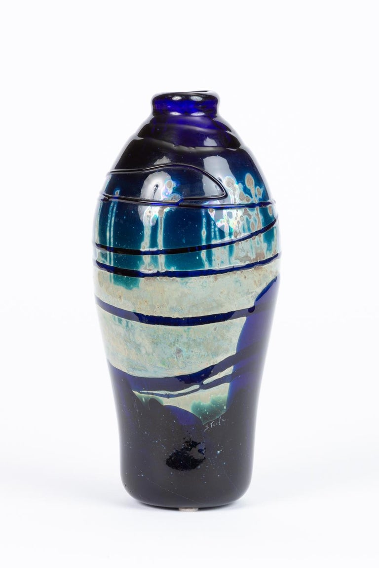 Hand Blown Art Glass Vase/Vessel with Striated Drip Finish In Excellent Condition For Sale In Los Angeles, CA
