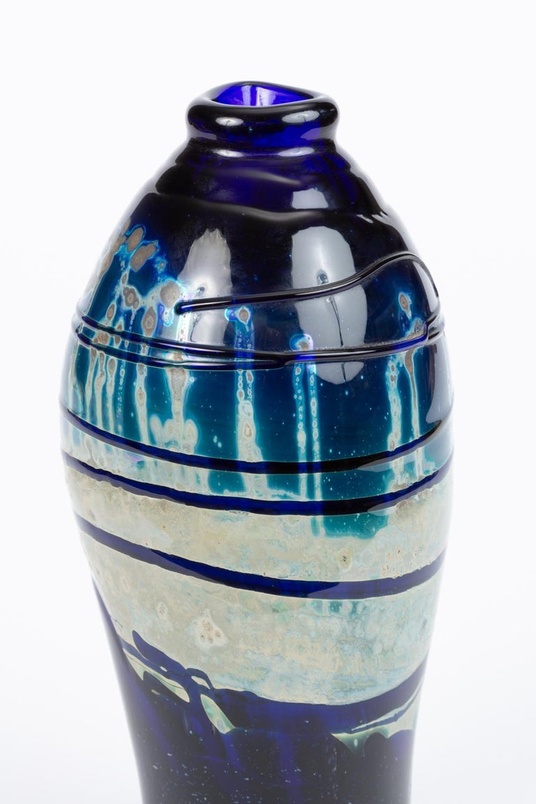 Hand Blown Art Glass Vase/Vessel with Striated Drip Finish For Sale 1