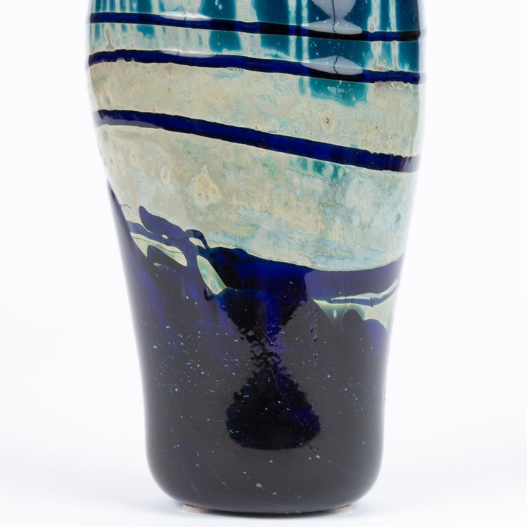 Hand Blown Art Glass Vase/Vessel with Striated Drip Finish For Sale 2