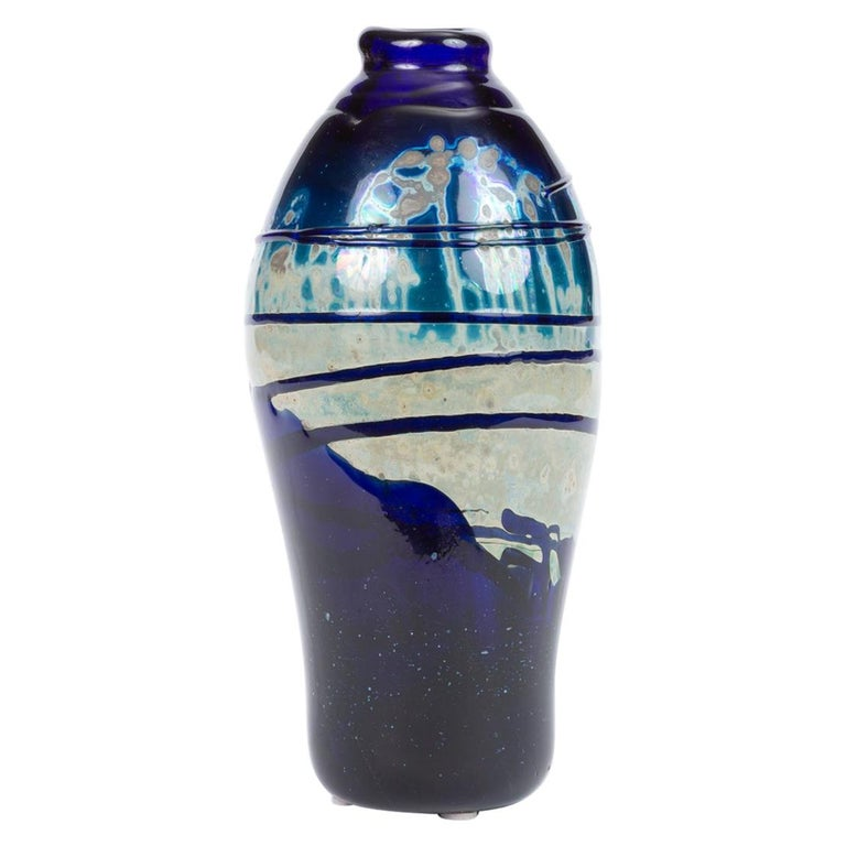 Hand Blown Art Glass Vase/Vessel with Striated Drip Finish For Sale