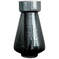 Hand Blown Black Glass Flower Vase