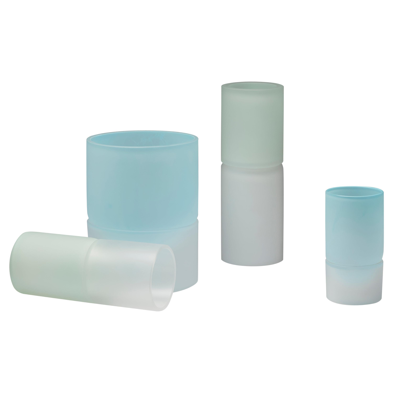 Hand Blown Contemporary Blue Clear Glass Art Sculpture Vases by Jinyaglass