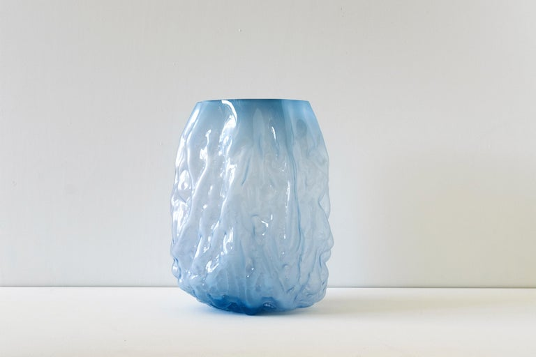 Modern Hand Blown Contemporary Blue Glass Vase by Erik Olovsson For Sale