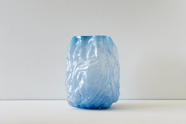 Swedish Hand Blown Contemporary Blue Glass Vase by Erik Olovsson For Sale