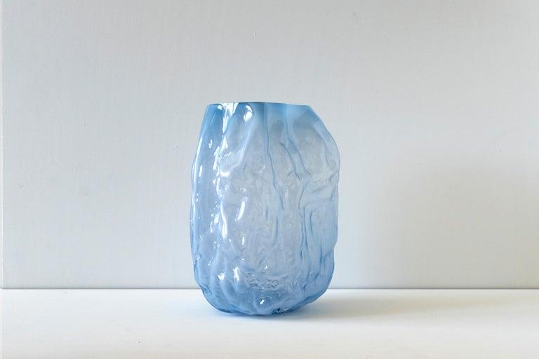 Cast Hand Blown Contemporary Blue Glass Vase by Erik Olovsson For Sale