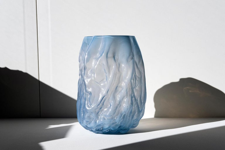 Hand Blown Contemporary Blue Glass Vase by Erik Olovsson In New Condition For Sale In Stockholm, SE