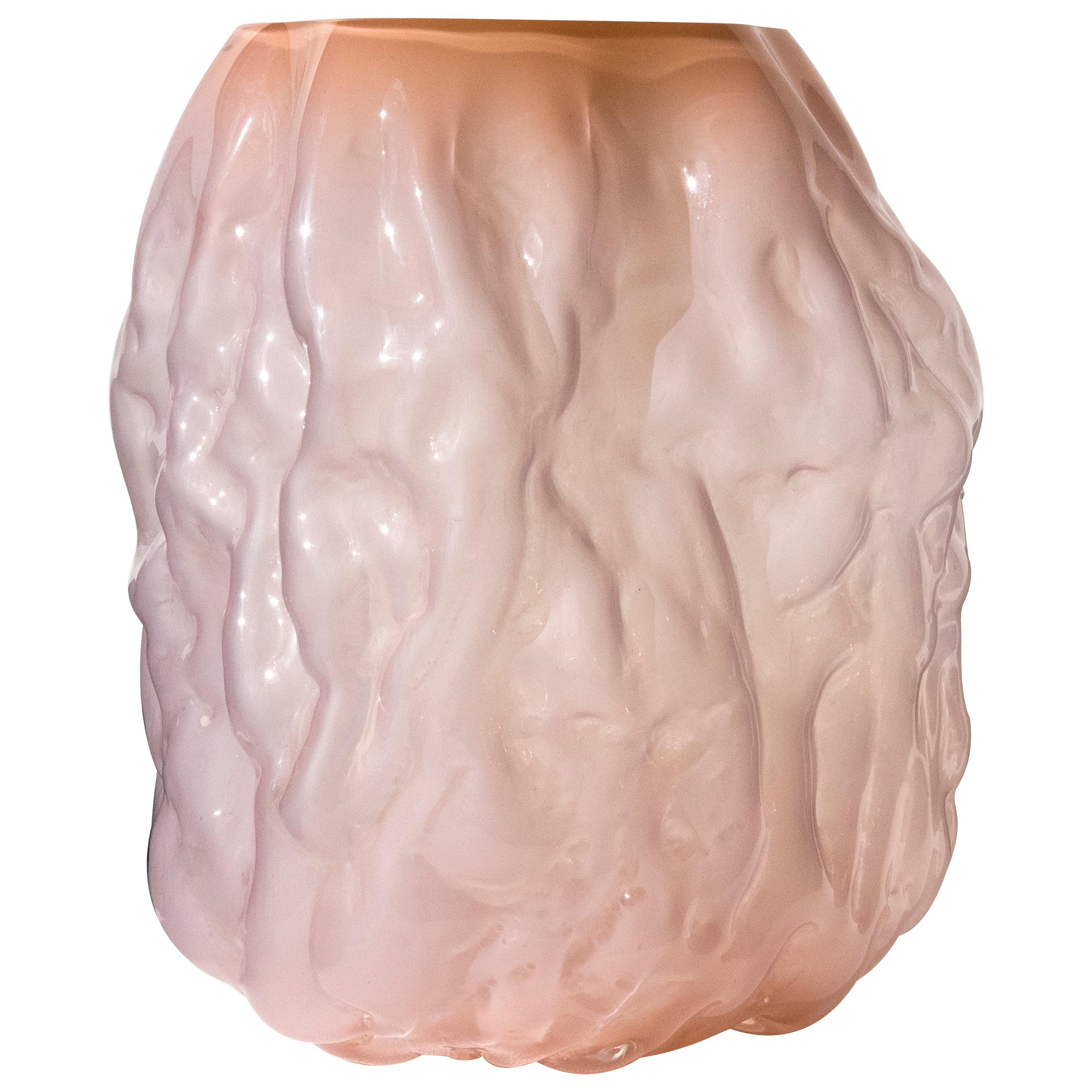 Hand Blown Contemporary Pink Glass Vase by Erik Olovsson