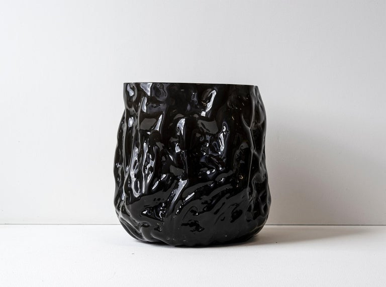 Swedish Hand Blown Contemporary Wrinkle Black Glass Vase by Erik Olovsson For Sale