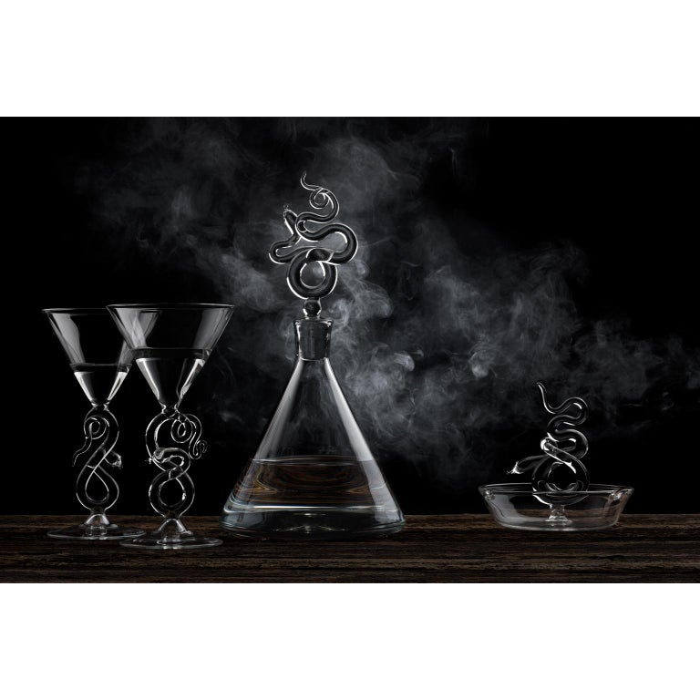 Italian Hand Blown Decanter from Serpentine Collection by Simone Crestani For Sale