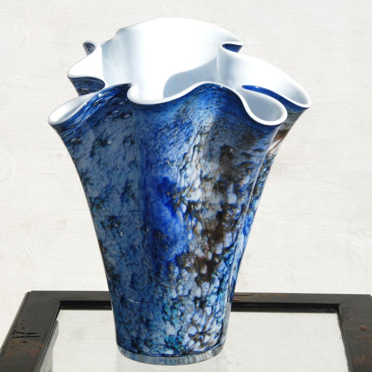 Modern Hand Blown Fazzoletto Murano Style Folded Blue Vase For Sale