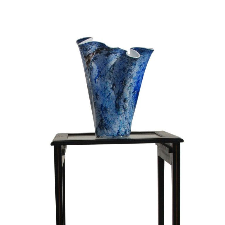 Italian Hand Blown Fazzoletto Murano Style Folded Blue Vase For Sale