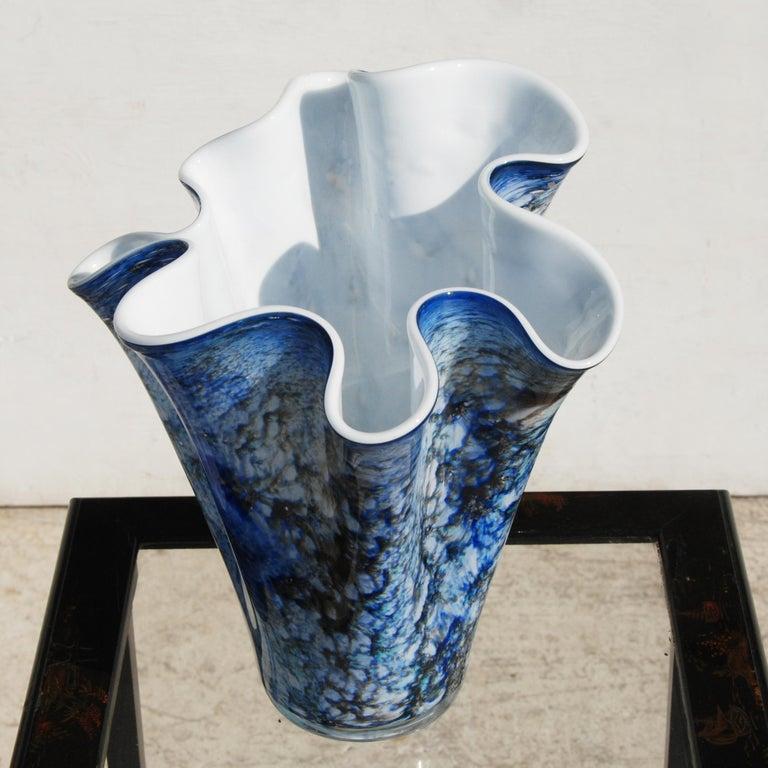 Contemporary Hand Blown Fazzoletto Murano Style Folded Blue Vase For Sale