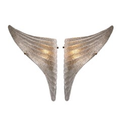Hand Blown Glass and Antiqued Brass Wing- Set Shaped Wall Sconce