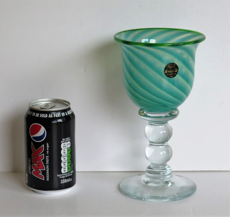 Hand blown Glass Drinking Goblet by Island Studio Glass Guernsey, circa 1985 For Sale 12