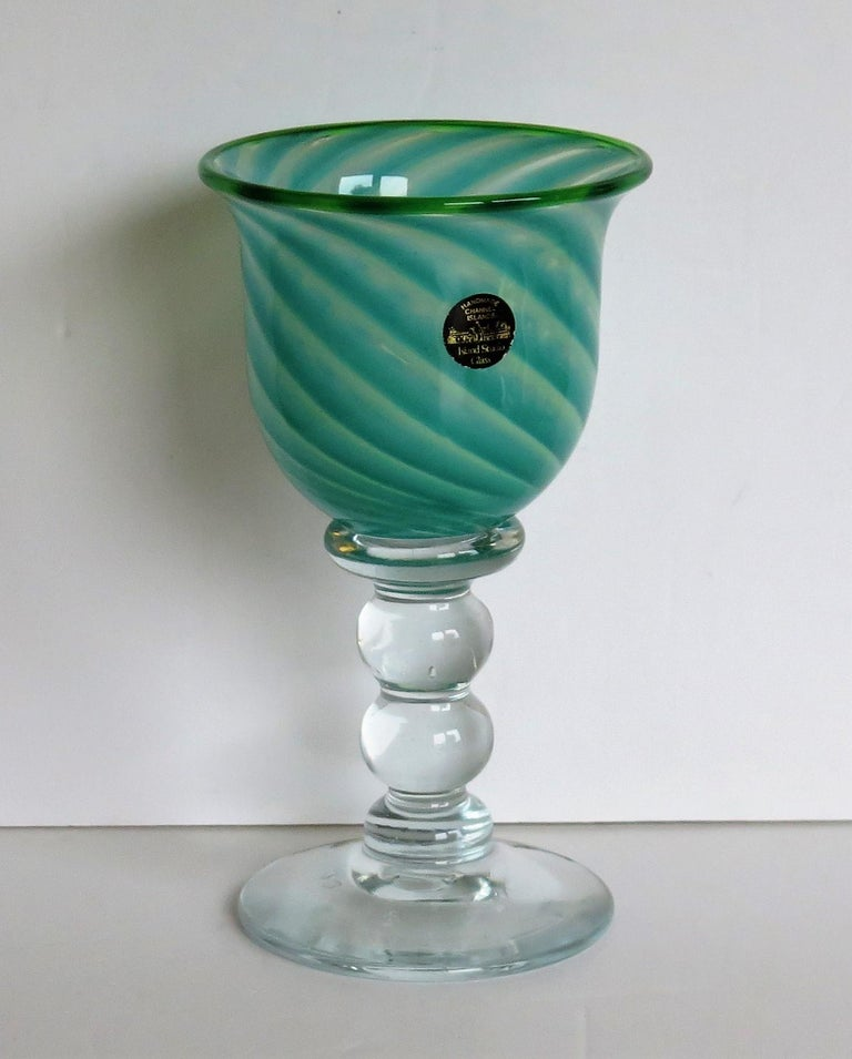 This is a very good large hand blown glass goblet, made by Island Studio Glass of Guersey, Channel islands, dating to the late 20th century, circa 1985.