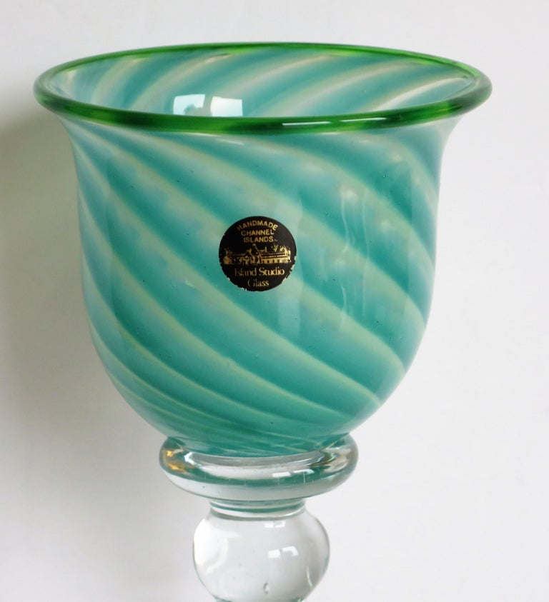 Georgian Hand blown Glass Drinking Goblet by Island Studio Glass Guernsey, circa 1985 For Sale