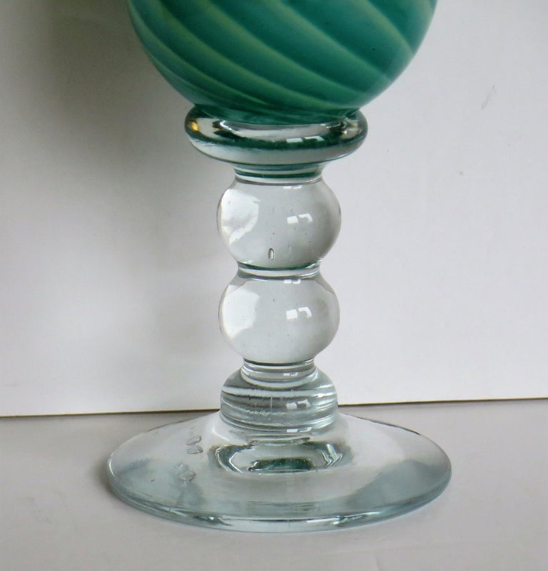 English Hand blown Glass Drinking Goblet by Island Studio Glass Guernsey, circa 1985 For Sale