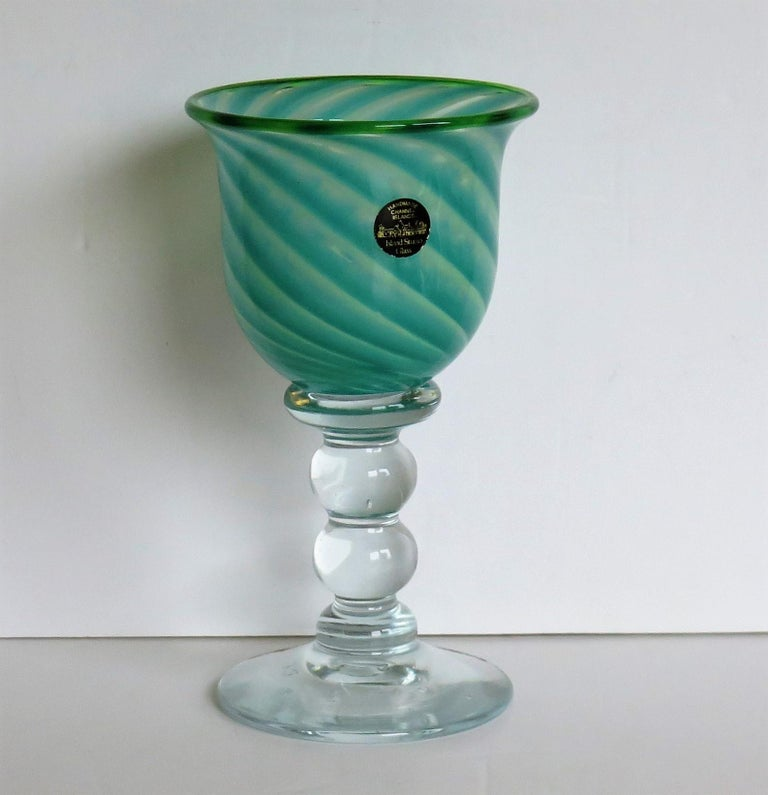 Hand-Crafted Hand blown Glass Drinking Goblet by Island Studio Glass Guernsey, circa 1985 For Sale