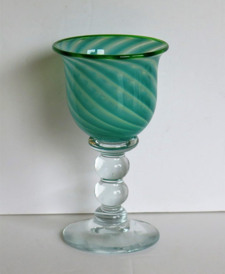 Hand blown Glass Drinking Goblet by Island Studio Glass Guernsey, circa 1985 In Good Condition For Sale In Lincoln, Lincolnshire
