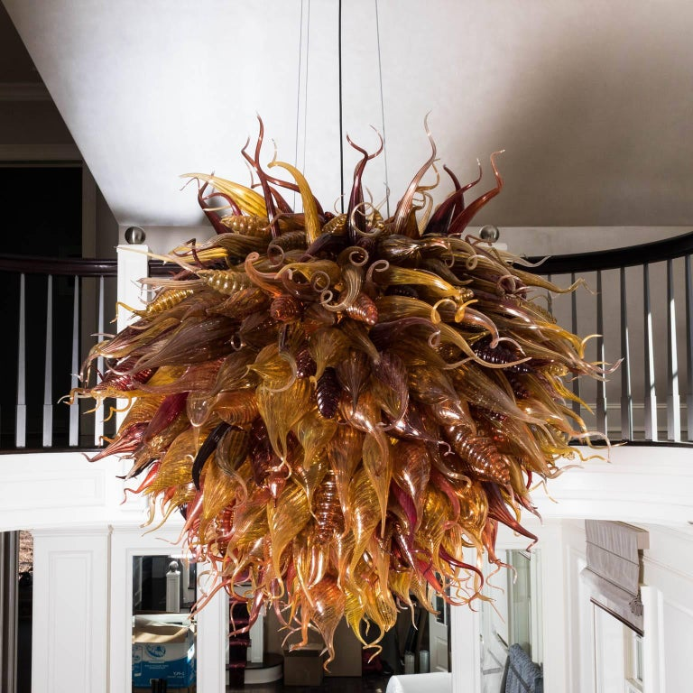 Mid-Century Modern Handblown Glass Light Fixture in a Manner of Dale Chihuly For Sale