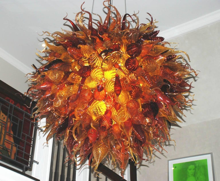 Art Glass Handblown Glass Light Fixture in a Manner of Dale Chihuly For Sale