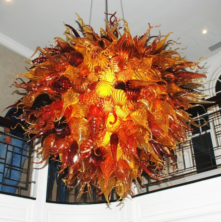 Handblown Glass Light Fixture in a Manner of Dale Chihuly For Sale 1