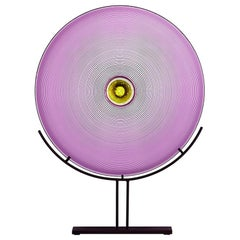 Hand Blown Glass Sculpture, Amethyst Disc, One of a Kind, by Vetro Vero