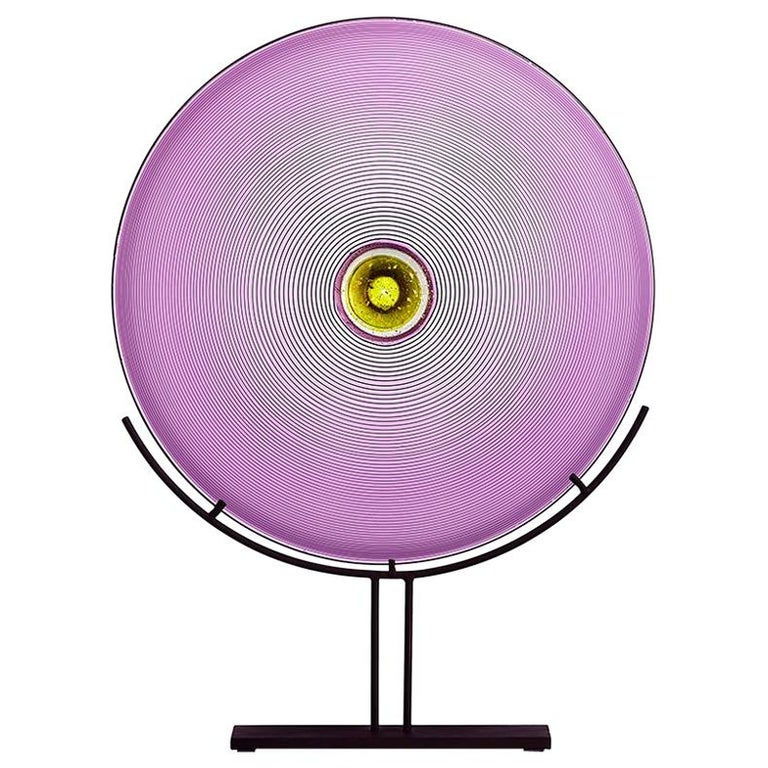 Hand Blown Glass Sculpture, Amethyst Disc, One of a Kind, by Vetro Vero For Sale