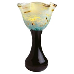 Hand Blown Glass Table Lamp with Cast Aluminum Base