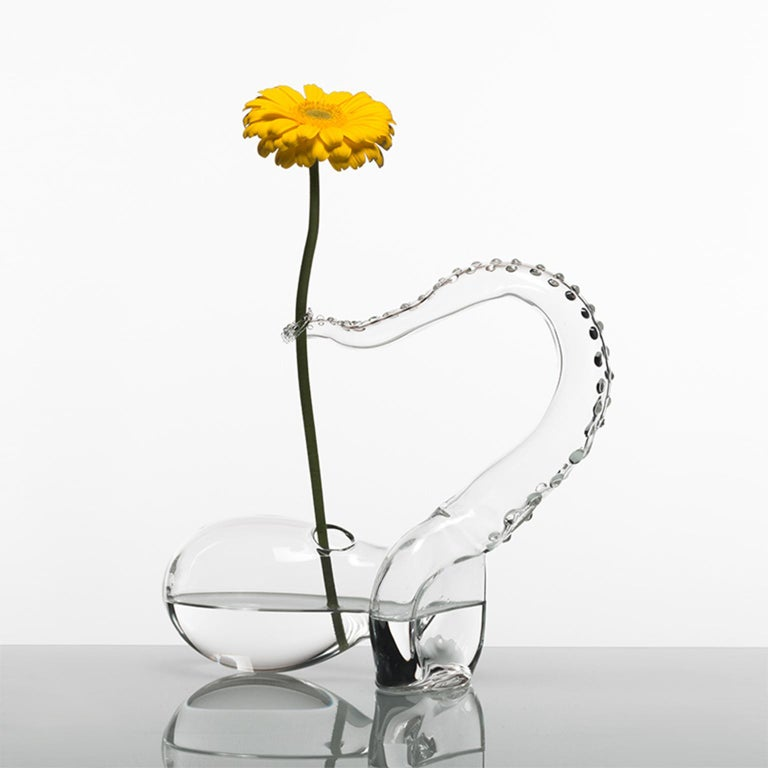 Modern Hand Blown Glass Vase from Polpo Collection by Simone Crestani For Sale