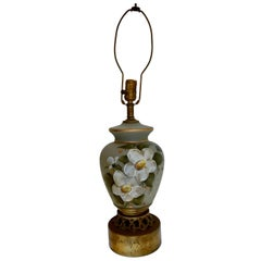Hand Blown, Hand Painted Glass Lamp with Flowers and Great Detail on Gold Base
