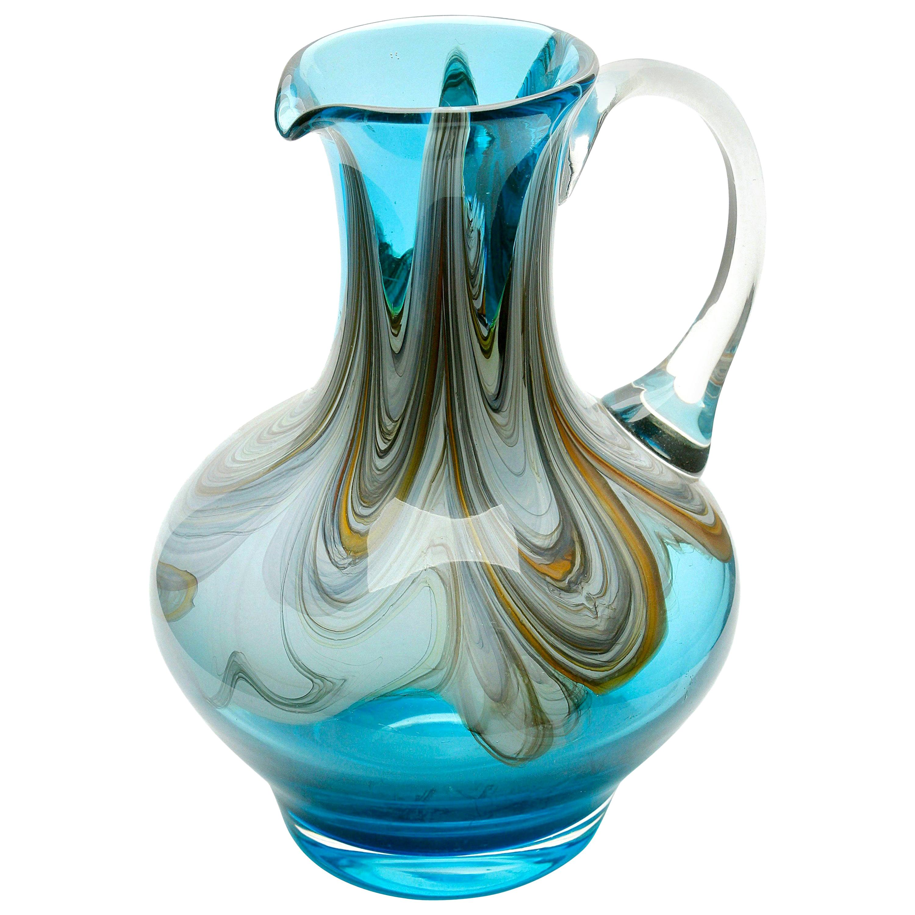 Hand Blown Handle Art Glass Pitcher with Agate-Colored Swirls