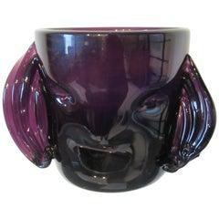 Hand Blown Head Vase Attributed to Blenko Glass