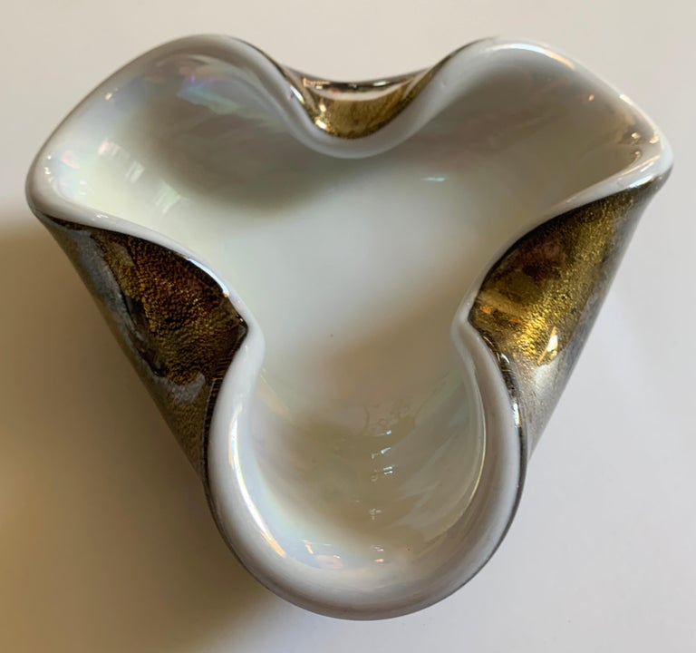 Hand-Crafted Hand Blown Italian Murano Glass Bowl with Gold Flecks For Sale