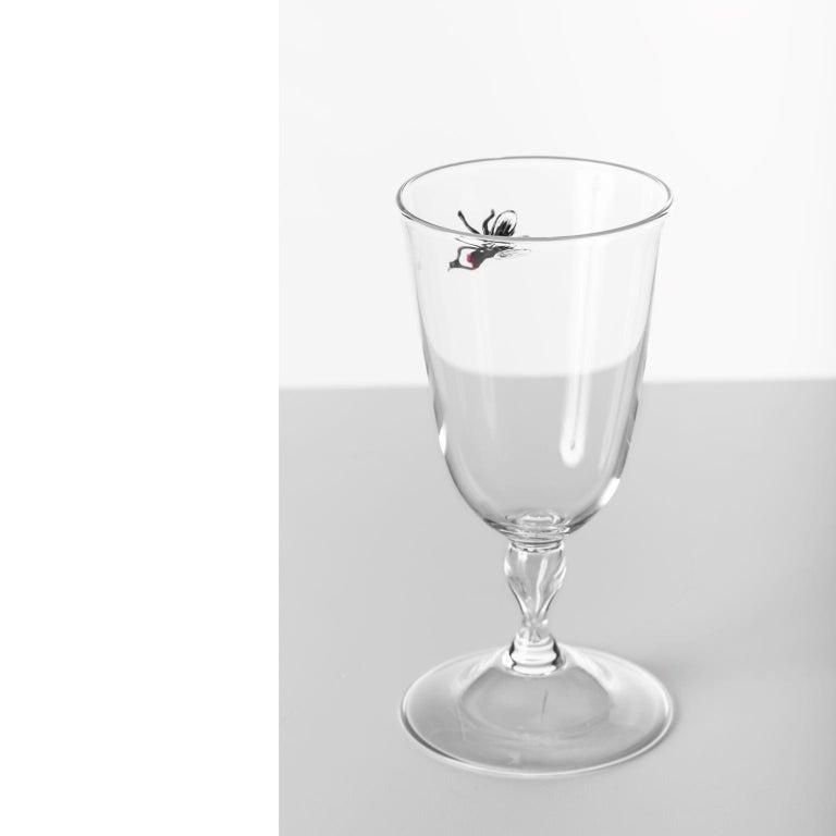 Italian 'Vanitas Low Glass' Hand Blown Glass by Simone Crestani For Sale
