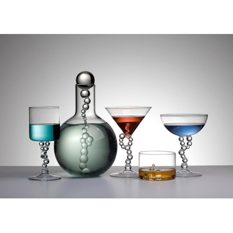 Italian Hand Blown Manhattan Glass from Alchemica Collection by Simone Crestani For Sale
