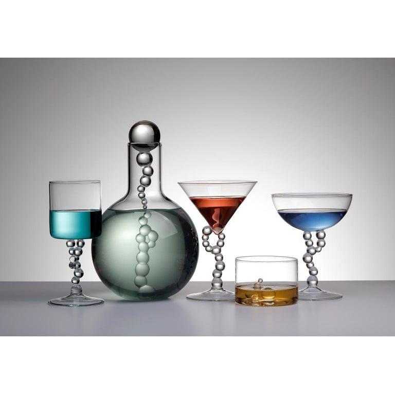 Italian 'Alchemica Martini Glass' Hand Blown Glass by Simone Crestani For Sale