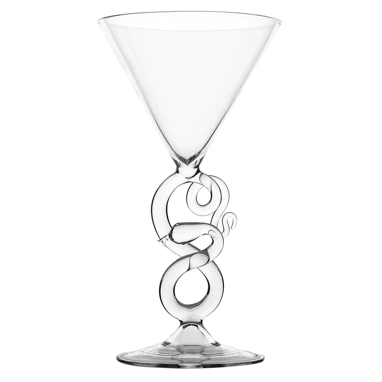 Hand Blown Martini Glass from Serpentine Collection by Simone Crestani