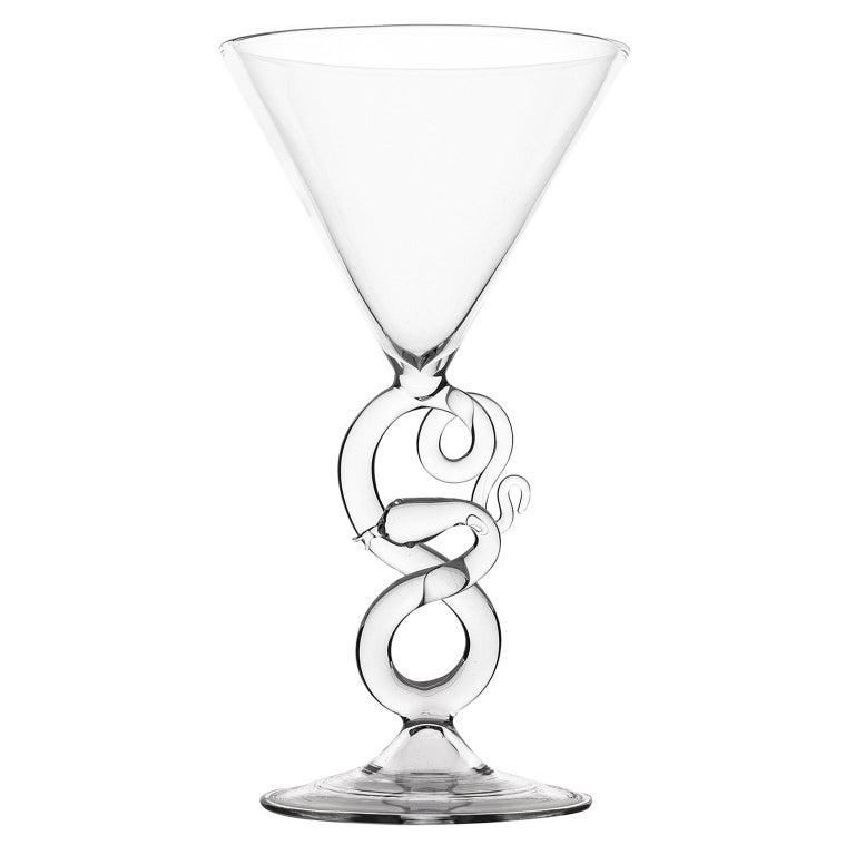 Hand Blown Martini Glass from Serpentine Collection by Simone Crestani For Sale