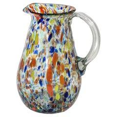 Hand Blown Multi-Color Italian Murano Art Glass Jug Pitcher