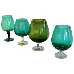 Hand Blown Multi- Green / Blue Hues Large Glass Brandy Snifters / Vases