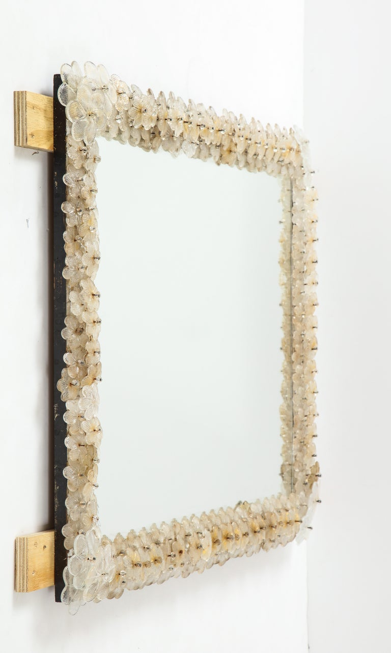 Hand Blown Murano Glass 1950s Wall Mirror For Sale 3