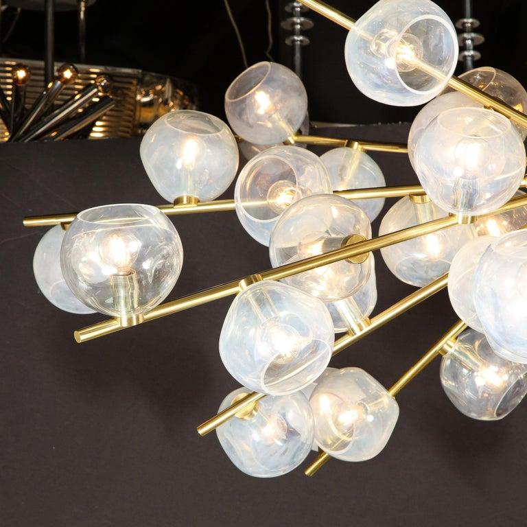 Contemporary Hand Blown Murano Glass and Brass