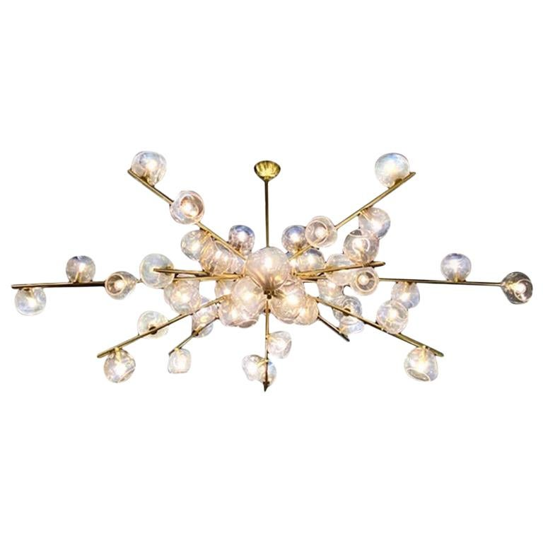 """Hand Blown Murano Glass and Brass """"Constellation"""" Chandelier by High Style Deco For Sale"""