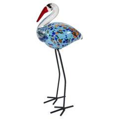 Hand Blown Murano Glass Flamingo Bird with Metal Legs, 1960s