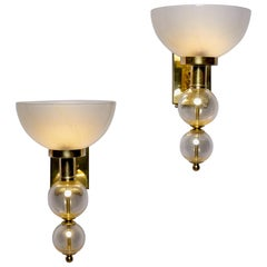 Hand Blown Murano Glass Sconces with Gold Flecks and Brass Fittings